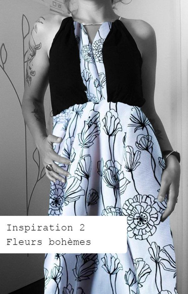 robe a fleur noire et blanche
