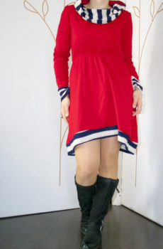 robe rouge col roulé