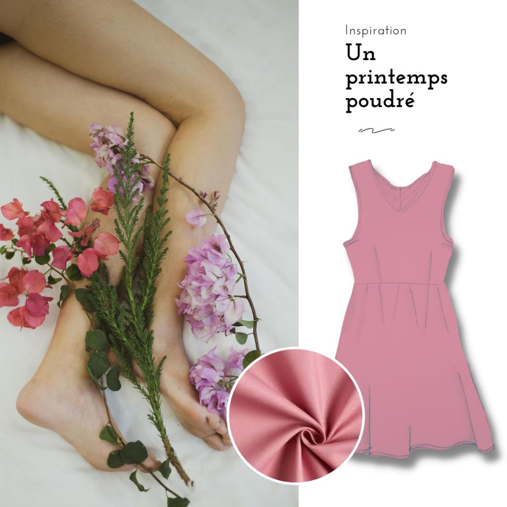 un printemps poudré. inspiration de couleur. moodboard vieux rose