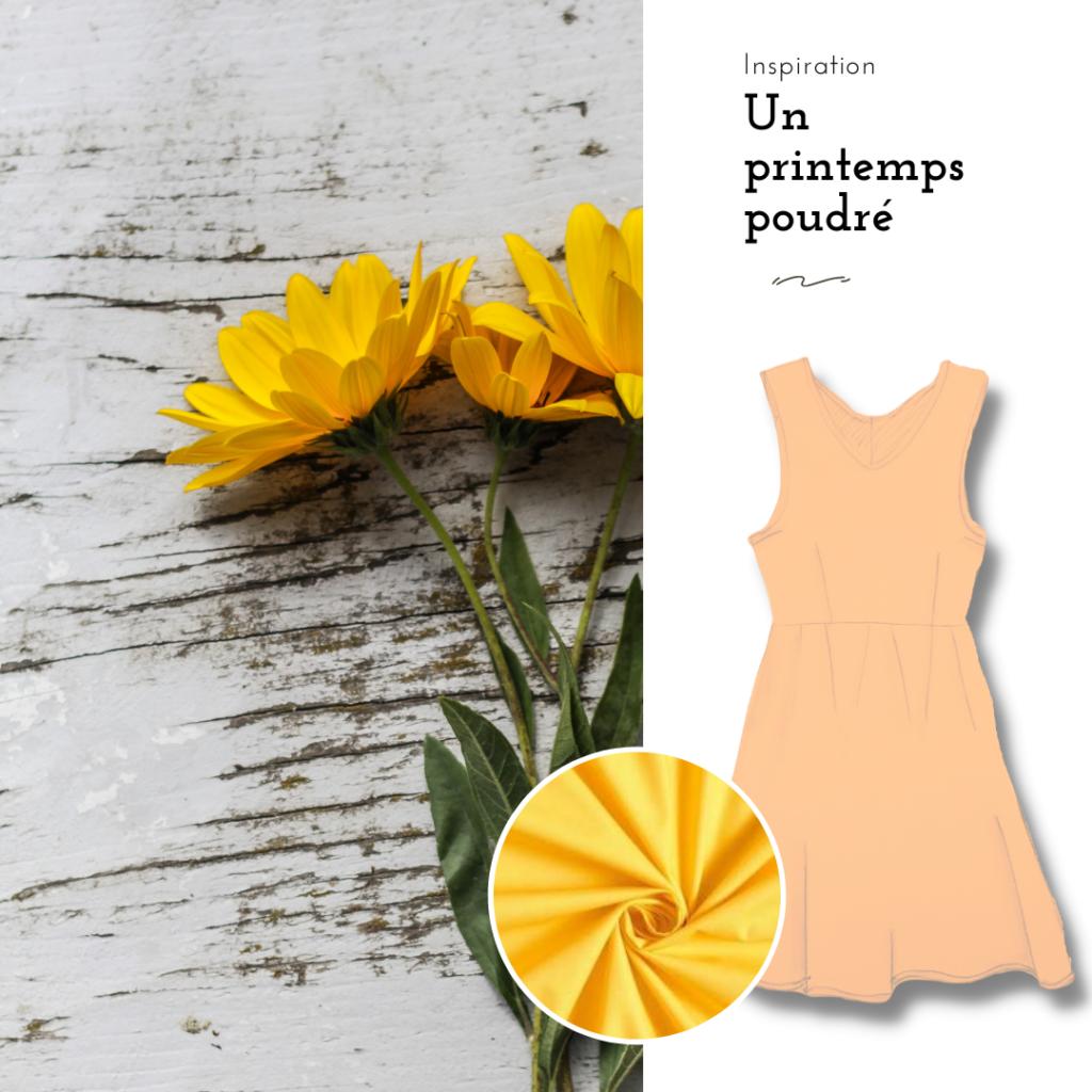 un printemps poudré. inspiration de couleur. moodboard jaune pâle