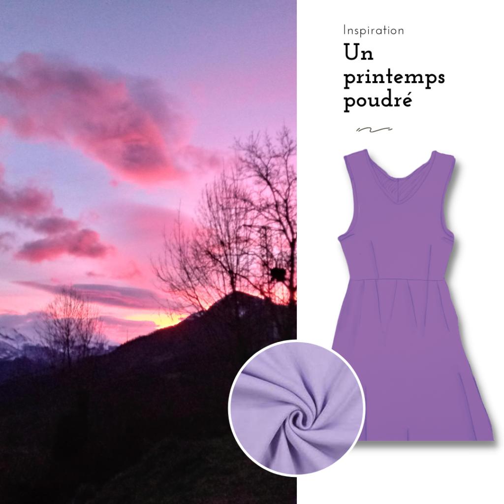 un printemps poudré. inspiration de couleur. moodboard violet