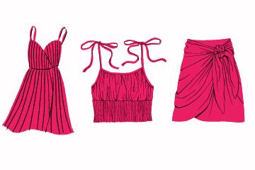 choix de vêtement : illustration robes jupe et top